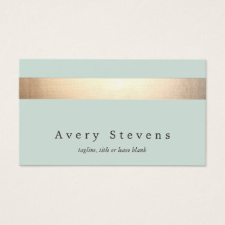 Faux Gold Foil Striped Elegant Light Blue Chic