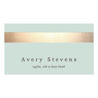 Faux Gold Foil Striped Elegant Light Blue Chic Pack Of Standard Business Cards