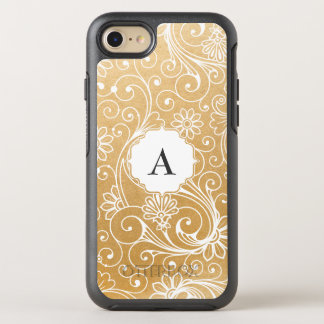 Faux Gold Foil Swirl overlay with monogram OtterBox Symmetry iPhone 8/7 Case
