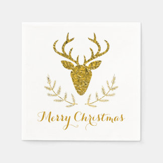 Faux Gold Foil Textured Deer Head Christmas Disposable Napkins