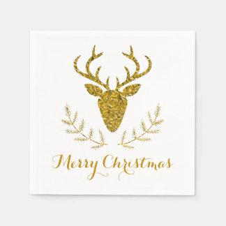 Faux Gold Foil Textured Deer Head Christmas Disposable Serviette