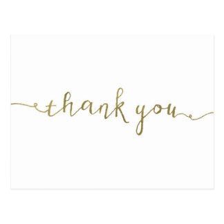 "Faux Gold Foil Thank You Card - 4.25"" x 5.6"""