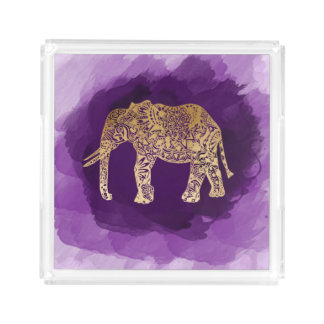 faux gold foil tribal elephant purple brushstroke acrylic tray