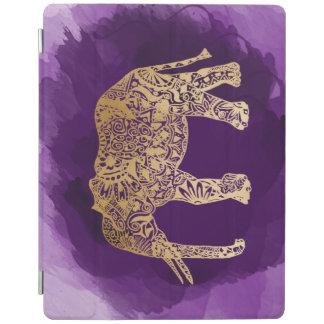 faux gold foil tribal elephant purple brushstroke iPad cover