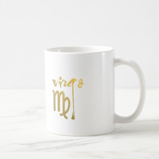 Faux Gold Foil Virgo Zodiac Symbol Coffee Mug