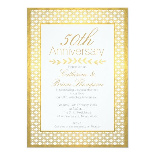 Faux Gold Foil Wedding 50th Anniversary Invitation