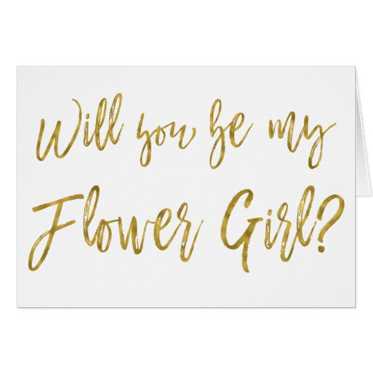 Faux Gold Foil Wedding Flower Girl Card