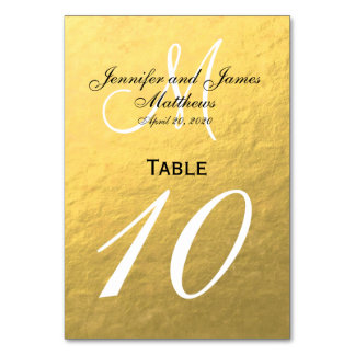 Faux Gold Foil Wedding Table Number Card Table Card