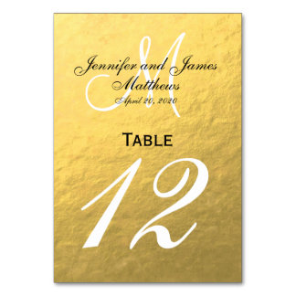 Faux Gold Foil Wedding Table Number Card Table Cards