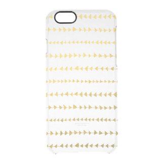 Faux Gold Foil White Arrows Pattern Clear iPhone 6/6S Case