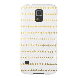 Faux Gold Foil White Arrows Pattern Galaxy S5 Case