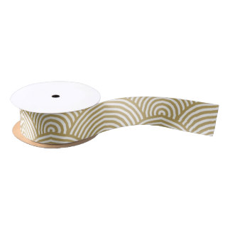 Faux Gold Foil White Circle Fan Pattern Satin Ribbon