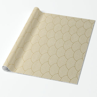 Faux Gold Foil White Circle Fan Pattern Wrapping Paper