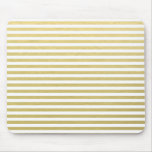 Faux Gold Foil White Stripes Pattern Mouse Pad
