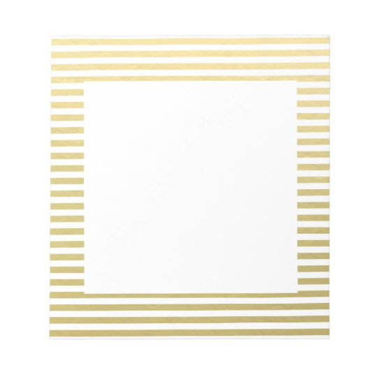 Faux Gold Foil White Stripes Pattern Notepad