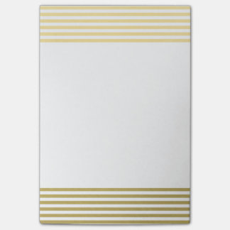 Faux Gold Foil White Stripes Pattern Post-it Notes