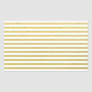 Faux Gold Foil White Stripes Pattern Rectangular Sticker