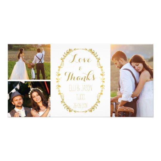 Faux Gold Foil Wreath Wedding Thank You Photocard
