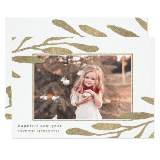 Faux Gold Frame Happy New Year Photo Card