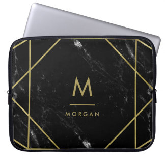 Faux Gold Geometric Design on Black Marble Look Laptop Sleeve