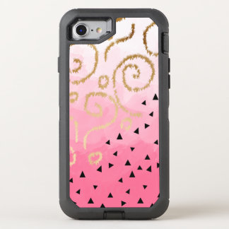 faux gold geometric pattern rose pink brushstrokes OtterBox defender iPhone 8/7 case