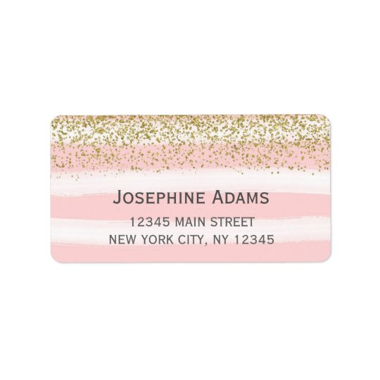 Faux Gold Glitter Address Labels