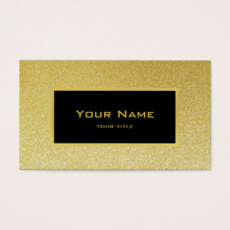 faux gold glitter and black label business card