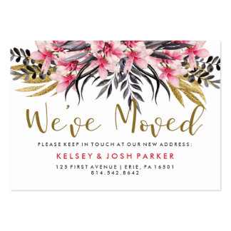 Faux Gold Glitter and Flowers New Address Insert Pack Of Chubby Business Cards