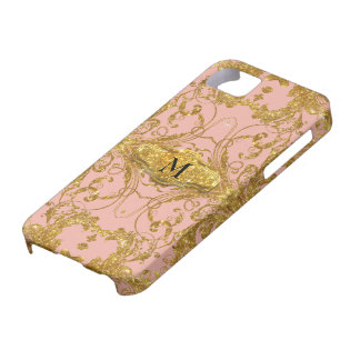 Faux Gold Glitter Art Nouveau Scroll Swirl Damask Barely There iPhone 5 Case