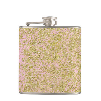 Faux Gold Glitter Background Pattern Sparkle Pink Hip Flask