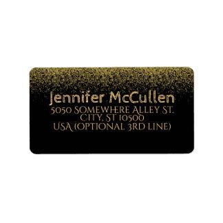 Faux Gold Glitter Black Address Mailing Labels