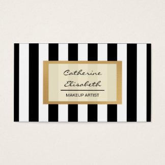 Faux Gold Glitter, Black Stripes, Makeup Artist Business Card