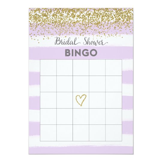 Faux Gold Glitter Bridal Shower Bingo Card