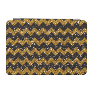 Faux Gold Glitter Chevron Pattern Black Glitter iPad Mini Cover