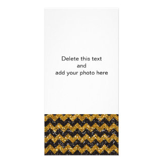 Faux Gold Glitter Chevron Pattern Black Glitter Customized Photo Card