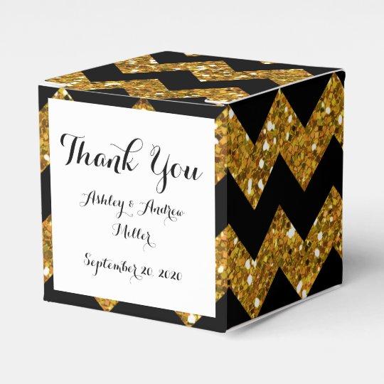Faux Gold Glitter Chevron Pattern Black Solid Colo
