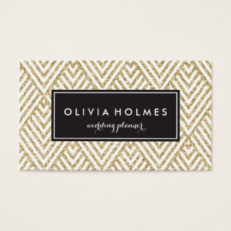 Faux Gold Glitter Chevron Pattern Business Card