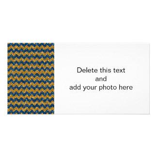 Faux Gold Glitter Chevron Pattern Navy Blue Glitte Customized Photo Card