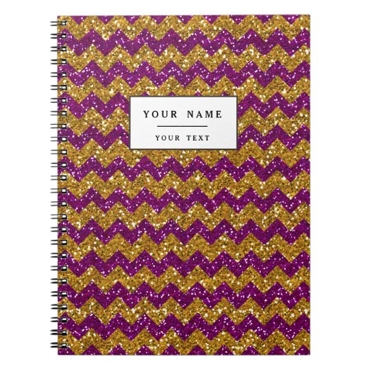 Faux Gold Glitter Chevron Pattern Purple Glitter Notebook