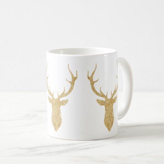 Faux Gold Glitter Christmas Deer Coffee Mug