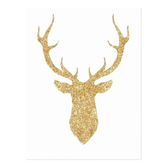 Faux Gold Glitter Christmas Deer Postcard