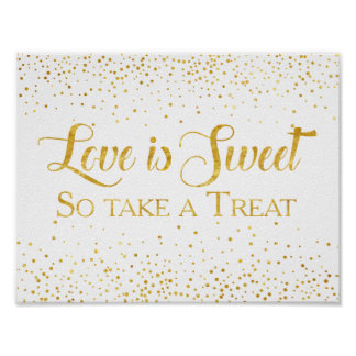 Faux Gold Glitter Confetti Wedding Dessert Sign Poster