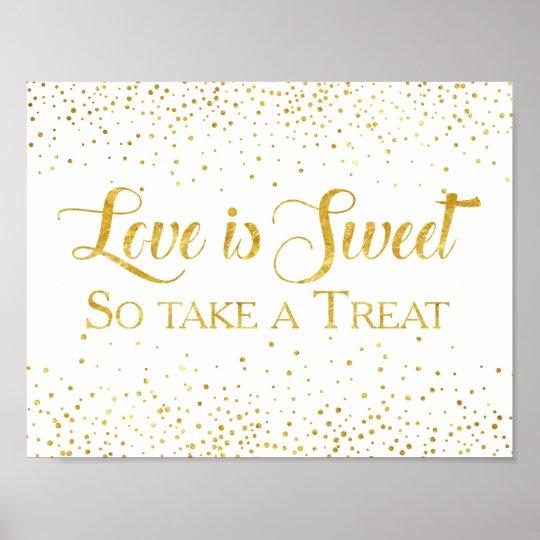 Faux Gold Glitter Confetti Wedding Dessert Sign Poster
