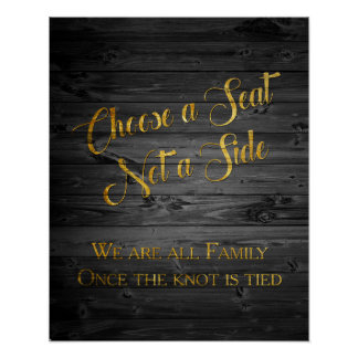 Faux Gold Glitter Confetti Wedding Seating Sign