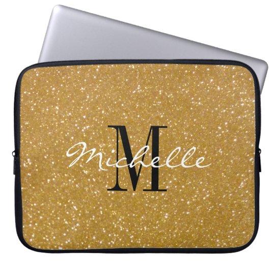 Faux gold glitter custom monogram laptop sleeve