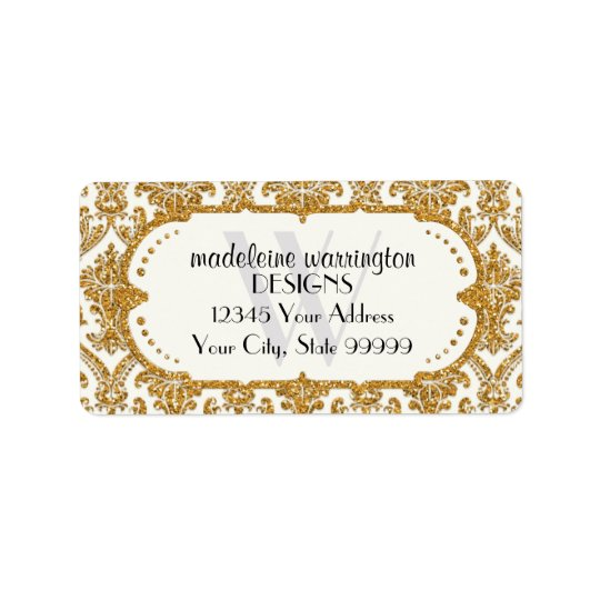 Faux Gold Glitter Damask Floral Pattern Business Label