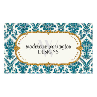 Faux Gold Glitter Damask Floral Pattern Business Pack Of Standard Business Cards