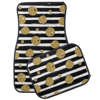 Faux gold glitter dots Black with stripes Car Mat