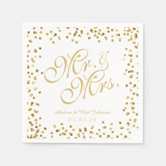 Faux Gold Glitter Elegant Mr. and Mrs. Wedding Disposable Napkin