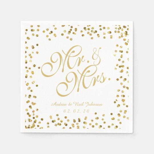 Faux Gold Glitter Elegant Mr. and Mrs. Wedding